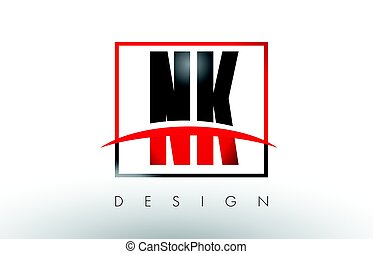 NK N K Logo Letters with Red and Black Colors and Swoosh....
