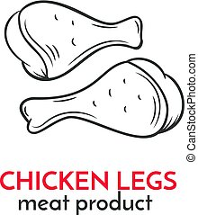 Hand drawn chicken legs icon. Vector food sketch style for...
