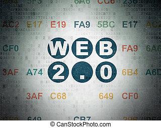Web design concept: Web 2.0 on Digital Data Paper background...