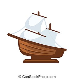 Small sailboat figurine - Vector illustration of simple...