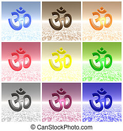 Colored aum om collage - Nine aum om of different colors put...