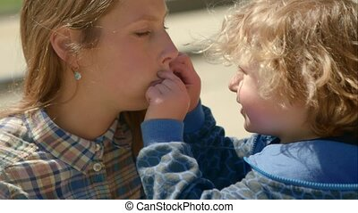 Son Indulge in with his mother and holds her by the mouth -...