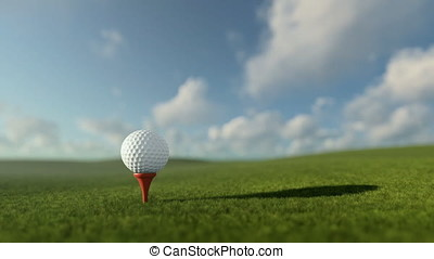Golfball on tee against beautiful timelapse blue sky