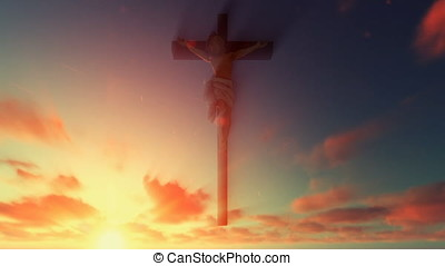 Jesus cross against beautiful sunrise