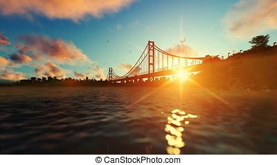 Goldengate Bridge against beautiful sunrise, travel cam