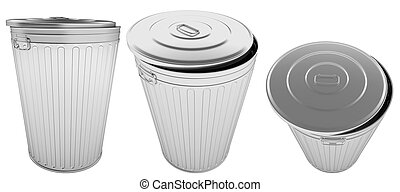 Steel Trash Can. 3D illustration isolated on a white...