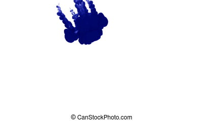 A lot of flows of isolated blue ink injects. Blue writing ink drop in water , shot in slow motion. Use for inky background or backdrop with smoke or ink effects