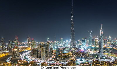 Dubai Downtown at night timelapse view from the top in...