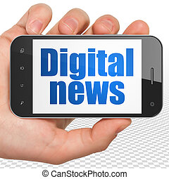 News concept: Hand Holding Smartphone with Digital News on display