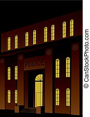 Police Station - Illustration of police station in Art Deco...