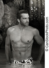 Outdoor male model - Black and white portrait of a sexy...