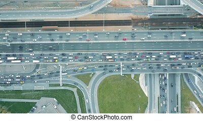 Aerial top down view of traffic jam on a car road in the...