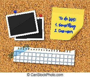 Cork board with blank torn paper piece, photos and to do list