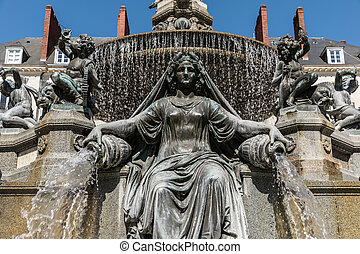 Fountain of the place Royale in Nantes , France