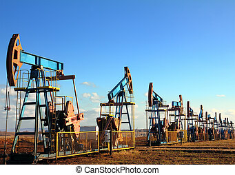 working oil pumps in row - many working oil pumps in row...