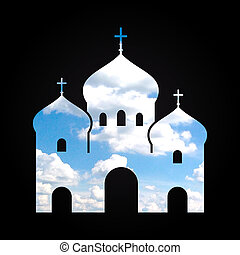 Christian church silhouette combined with image of cloud on the blue sky