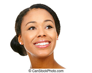 young woman - Beautiful smile young woman. Isolated over...