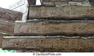 City names on wooden signs