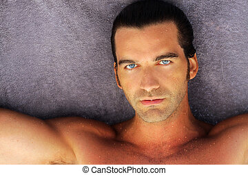 Beautiful man - portrait of beautiful suntanned young man...