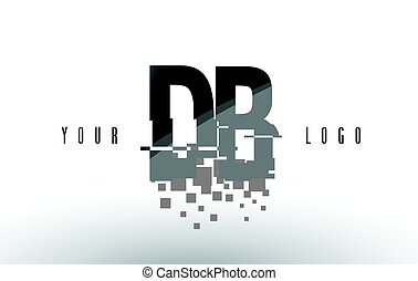 DB D B Pixel Letter Logo with Digital Shattered Black...