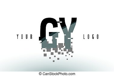 GY G Y Pixel Letter Logo with Digital Shattered Black...