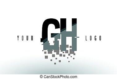 quebrantado, G, H, negro, carta, digital, logotipo,...