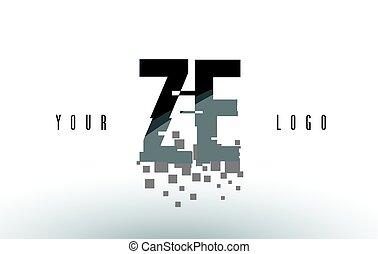 ZE Z E Pixel Letter Logo with Digital Shattered Black...