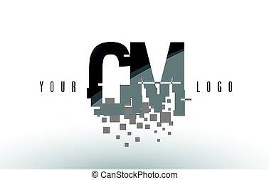 CM C M Pixel Letter Logo with Digital Shattered Black...