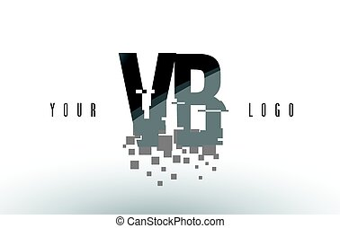 VB V B Pixel Letter Logo with Digital Shattered Black...