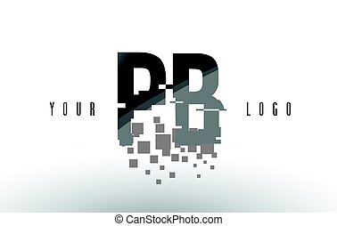 PB P B Pixel Letter Logo with Digital Shattered Black...