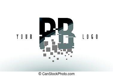 PB P B Pixel Letter Logo with Digital Shattered Black...