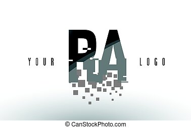 RA R Q Pixel Letter Logo with Digital Shattered Black...