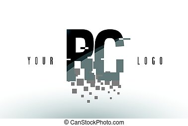 RC R C Pixel Letter Logo with Digital Shattered Black...