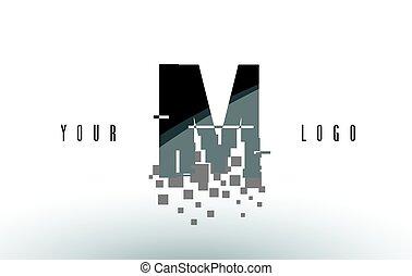 IM I M Pixel Letter Logo with Digital Shattered Black...
