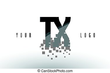 TX T X Pixel Letter Logo with Digital Shattered Black...
