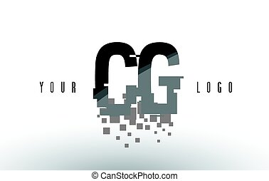CG C G Pixel Letter Logo with Digital Shattered Black...