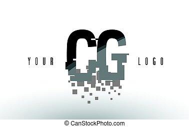 CG C G Pixel Letter Logo with Digital Shattered Black...