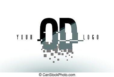 OD O D Pixel Letter Logo with Digital Shattered Black...