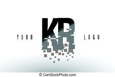 KR K R Pixel Letter Logo with Digital Shattered Black...