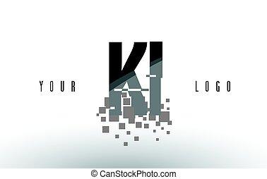 KI K I Pixel Letter Logo with Digital Shattered Black...
