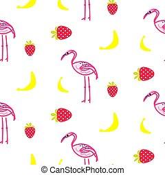 Flamingo summer seamless vector texture.