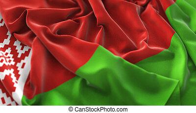 Belarus Flag Ruffled Beautifully Waving Macro Close-Up Shot