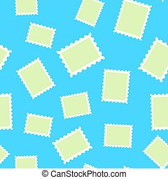 Vector pattern of post stamp on blue background
