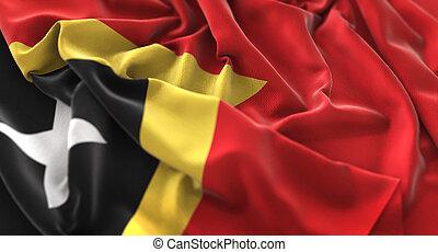 East Timor Flag Ruffled Beautifully Waving Macro Close-Up...
