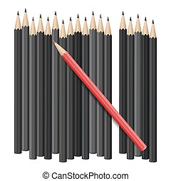 Realistic vector pencils - Single red pencil stands out...