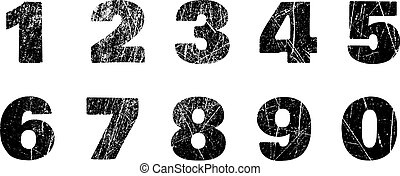 Set of grunge numbers with peeled metal texture. Distressed vector illustration.