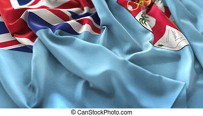 Fiji Flag Ruffled Beautifully Waving Macro Close-Up Shot