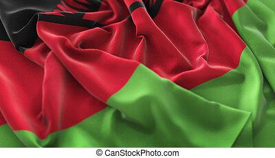 Malawi Flag Ruffled Beautifully Waving Macro Close-Up Shot
