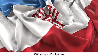 Mari El Flag Ruffled Beautifully Waving Macro Close-Up Shot