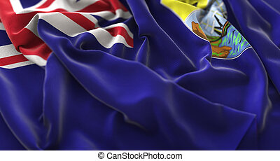 Saint Helena Flag Ruffled Beautifully Waving Macro Close-Up...